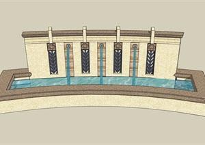 现代风格详细的喷泉水池景墙设计SU(草图大师)模型