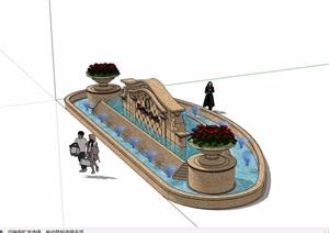 欧式风格详细的喷泉水池景墙素材设计SU(草图大师)模型