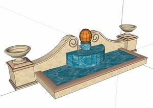 欧式风格详细的水池景墙设计SU(草图大师)模型