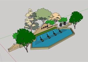 某欧式水池景墙素材详细设计SU(草图大师)模型