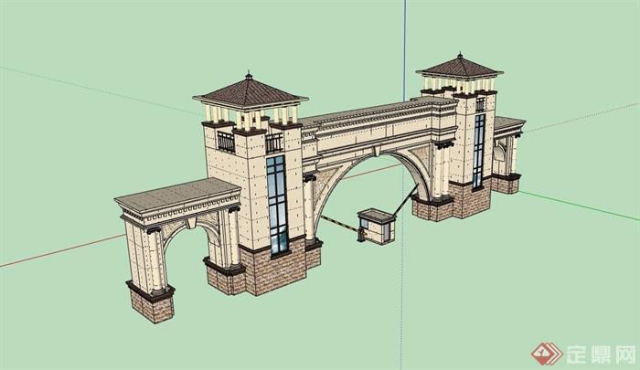 欧式风格详细的完整大门素材设计su模型