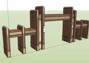 新古典风格简单的大门设计SU(草图大师)模型