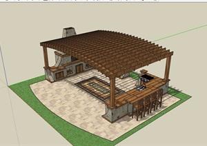 欧式景观庭院休闲廊架设计SU(草图大师)模型