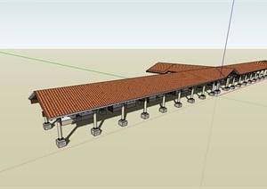 欧式景观休闲长廊架设计SU(草图大师)模型