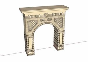 欧式风格简单的景观门素材设计SU(草图大师)模型