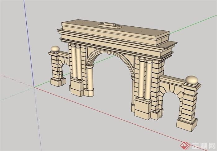 欧式大门素材设计su模型