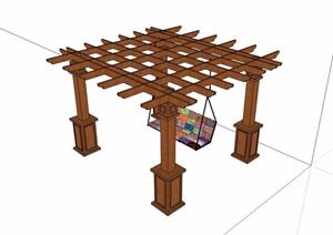 欧式景观休闲防腐木廊架设计SU(草图大师)模型