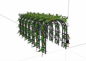 歐式景觀休閑鐵藝花架設計SU(草圖大師)模型