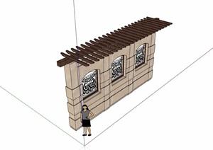 欧式景观休闲景墙廊架设计SU(草图大师)模型