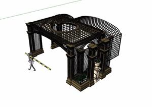 欧式景观铁艺廊架素材设计SU(草图大师)模型