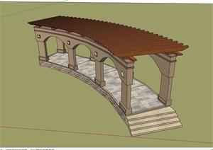 欧式景观休闲廊架素材详细设计SU(草图大师)模型