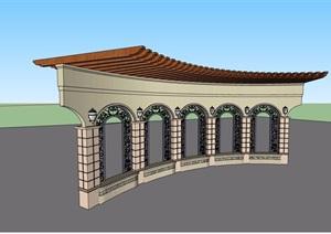 欧式弧形景观休闲廊架设计SU(草图大师)模型