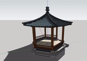 六角亭中式素材设计SU(草图大师)模型
