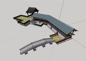 合心岛亭廊组合素材设计SU(草图大师)模型