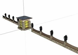 欧式风格围墙大门素材设计SU(草图大师)模型