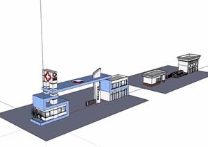 两个不同的详细医院大门素材设计SU(草图大师)模型