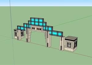大门钢构素材设计SU(草图大师)模型