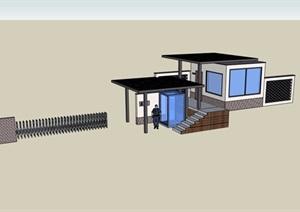 园林景观保安亭入口大门设计SU(草图大师)模型