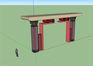 中式大门节点素材设计SU(草图大师)模型