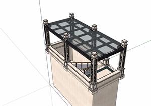 人防玻璃廊架素材设计SU(草图大师)模型