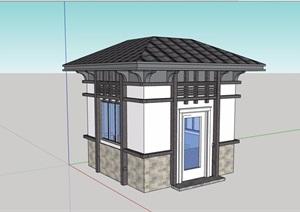 某详细的完整欧式门卫室素材设计SU(草图大师)模型