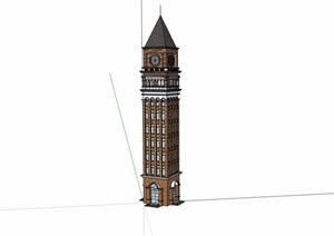 欧式详细的景观钟楼素材设计SU(草图大师)模型