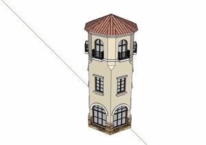 某详细的完整塔楼素材设计SU(草图大师)模型