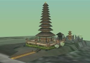 日式风格详细的完整景观塔素材设计SU(草图大师)模型