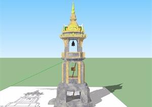 东南亚风格详细的景观塔素材设计SU(草图大师)模型