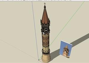 某英式风格宗教塔楼素材设计SU(草图大师)模型