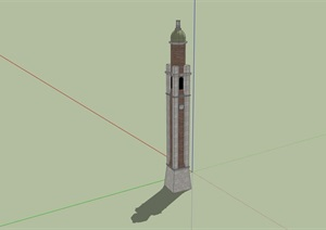欧式风格详细的完整钟塔素材设计SU(草图大师)模型