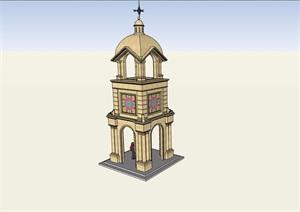 欧式风格详细的钟塔素材设计SU(草图大师)模型