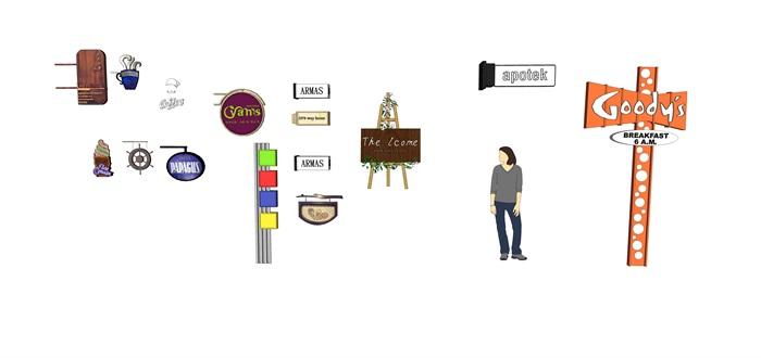 各种景区商业店铺招牌su精品模型(1)