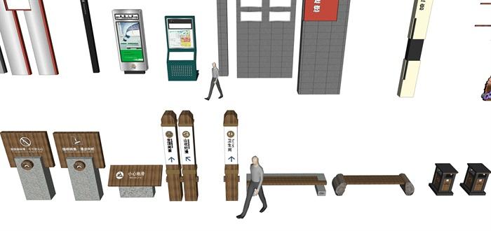 各种景区商业店铺招牌su精品模型(4)