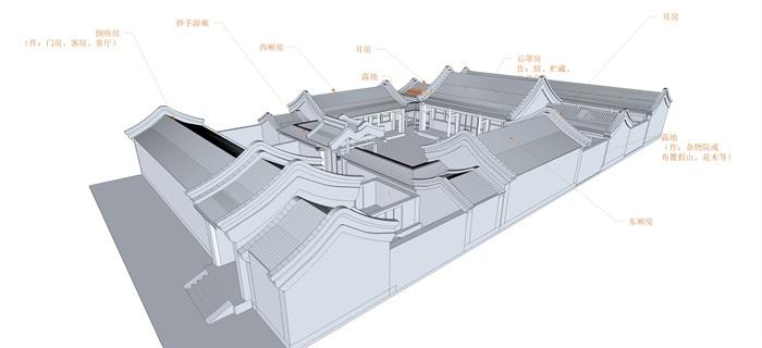 北京四合院三进院su精品模型(2)