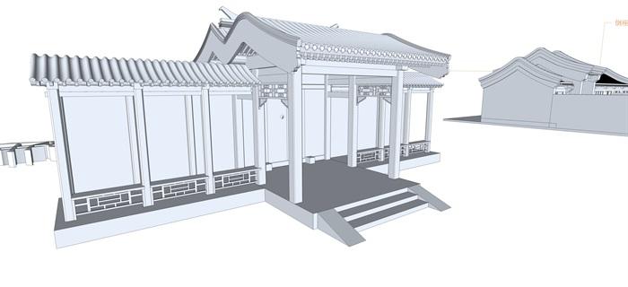 北京四合院三进院su精品模型(6)