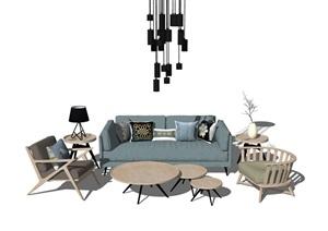 现代北欧风格室内家装客厅场景模型组合suSU(草图大师)模型