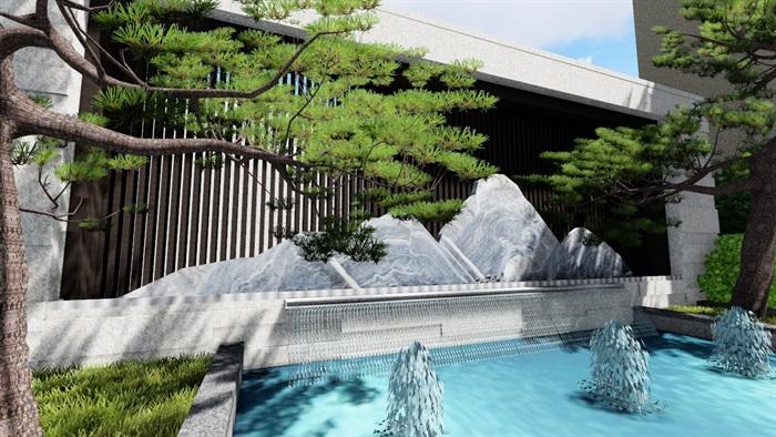 新中式别墅庭院景观设计su模型(1)
