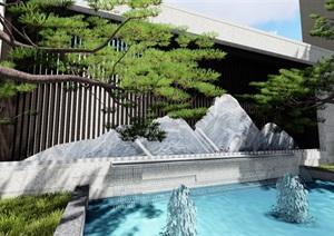 新中式別墅庭院景觀設計su模型