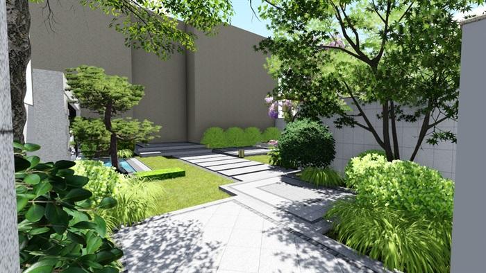 新中式别墅庭院景观设计su模型(2)