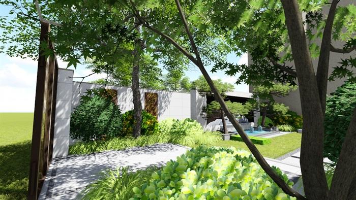 新中式别墅庭院景观设计su模型(3)