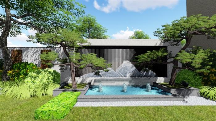 新中式别墅庭院景观设计su模型(4)