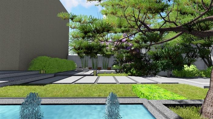 新中式别墅庭院景观设计su模型(7)