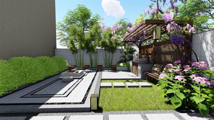 新中式别墅庭院景观设计su模型(9)