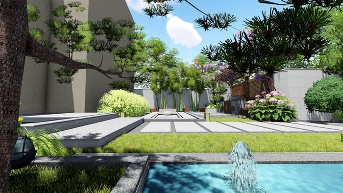 新中式别墅庭院景观设计su模型(8)
