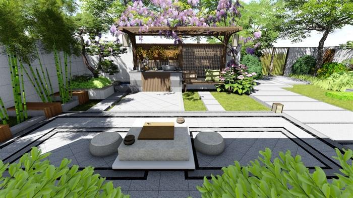 新中式别墅庭院景观设计su模型(10)