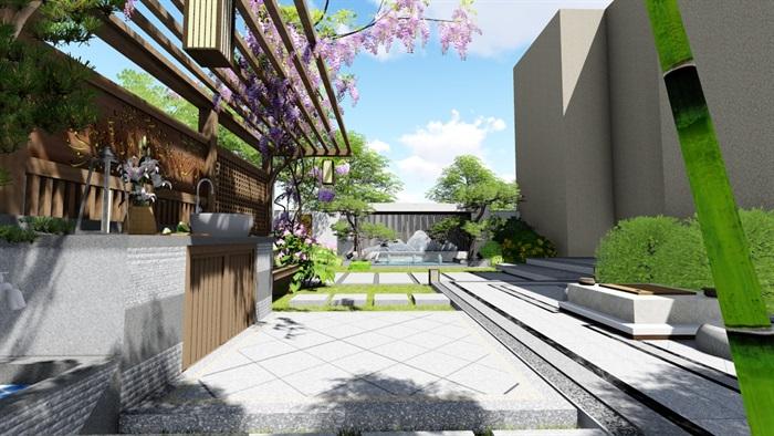新中式别墅庭院景观设计su模型(13)
