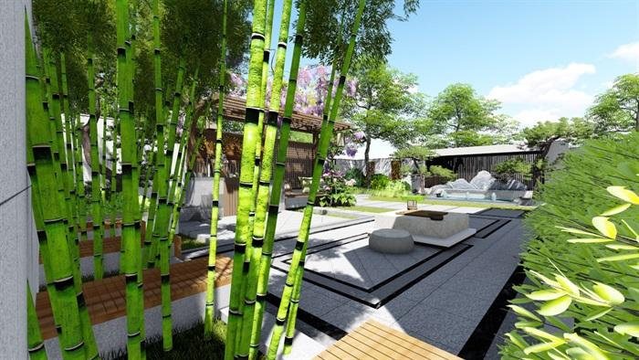新中式别墅庭院景观设计su模型(14)