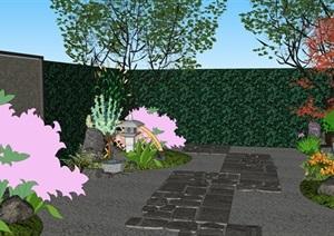 日式庭院花园景观设计SU(草图大师)模型