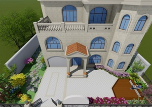 欧式别墅庭院花园景观设计SU(草图大师)模型2